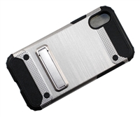 iPhone X Brushed Metallic Armor Case with Magnetic Kickstand - Silver