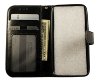 iPhone XS Max Leatherette Wallet Case - Black