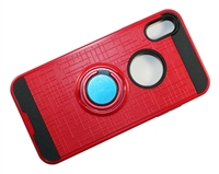 iPhone X Armor Case with Ring Holder Stand and Plate for Magnetic Holder - Red