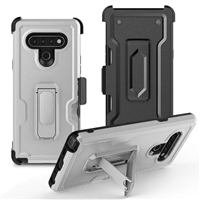 LG K51 Multi-Function Holster Combo Case - Silver