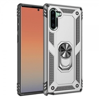 Samsung Note 10 Magnetic Ring Stand Hybrid Case - Silver