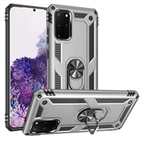 Samsung Galaxy S20 Plus Magnetic Ring Stand Hybrid Case - Silver