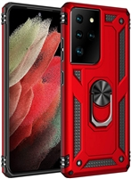 Wholesale Samsung Galaxy S21 Ultra Magnetic Ring Stand Hybrid Case - Red