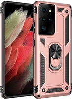 Wholesale Samsung Galaxy S21 Ultra Magnetic Ring Stand Hybrid Case - Rose Gold