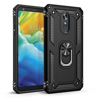 LG Stylo 5 Magnetic Ring Stand Hybrid Case - Black