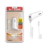 2.1 A MicroUSB / V8 Car Charger With Extra USB Port - White