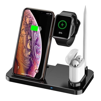 4 in 1 Wireless Charger for I devices / Phone, Watch, Pen, Pods - Black