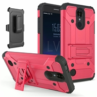 LG Aristo 3 X220 / Aristo 2 X210 / Tribute Dynasty / Tribute Empire / Fortune 2 Armor Holster Combo Case - Red