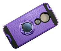 Moto G7 Play XT1952 Armor Case with Ring Holder Stand and Plate for Magnetic Holder - Purple