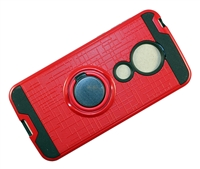 Moto G7 Play XT1952 Armor Case with Ring Holder Stand and Plate for Magnetic Holder - Red