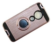 Moto G7 Play XT1952 Armor Case with Ring Holder Stand and Plate for Magnetic Holder - Rose Gold