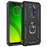Moto G7 Play XT1952 Magnetic Ring Stand Hybrid Case - Black