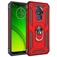 Moto G7 Play XT1952 Magnetic Ring Stand Hybrid Case - Red