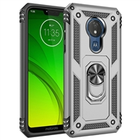 Moto G7 Play XT1952 Magnetic Ring Stand Hybrid Case - Silver