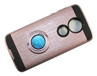 Moto G7 Power / Supra XT1955 Armor Case with Ring Holder Stand and Plate for Magnetic Holder - Rose Gold