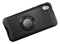 Moto E6 Armor Case with Ring Holder and Plate for Magnetic Holder - Black