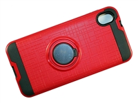 Moto E6 Armor Case with Ring Holder and Plate for Magnetic Holder - Red