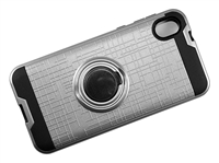 Moto E6 Armor Case with Ring Holder and Plate for Magnetic Holder - Silver