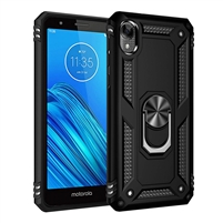 Moto E6 XT2005 Magnetic Ring Stand Hybrid Case - Black