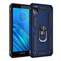 Moto E6 XT2005 Magnetic Ring Stand Hybrid Case - Blue