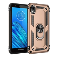 Moto E6 XT2005 Magnetic Ring Stand Hybrid Case - Gold