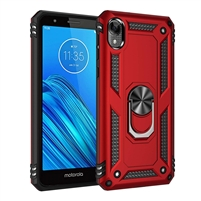 Moto E6 XT2005 Magnetic Ring Stand Hybrid Case - Red