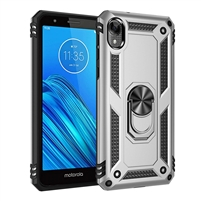 Moto E6 XT2005 Magnetic Ring Stand Hybrid Case - Silver