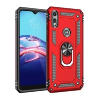 Moto E 2020 / XT2052 Magnetic Ring Stand Hybrid Case - Red