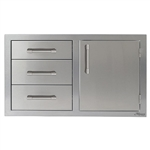 "ALFRESCO 32"" Combo Door on Right and Triple Drawers (AXE-DDC-R-SC)"