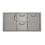 "PCM Stainless Steel 42"" Triple Combo Drawers, Trash and Access Door (PCM-260-COMBO42/TR)"