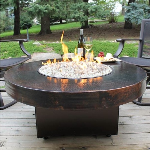 Oriflamme Standard Hammered Copper 42 Round Fire Table