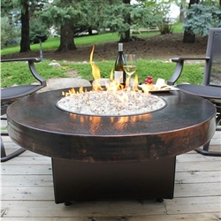 "ORIFLAMME Standard Hammered Copper 42"" Round Fire Table"