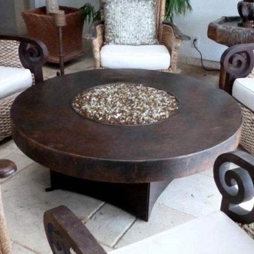 Oriflamme Somber Hammered Copper 48 Round Fire Table