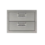 "PCM Stainless Steel 17"" x 12"" Two Drawer Storage (PCM-260-2DR)"