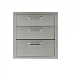 "PCM Stainless Steel 17"" x 24"" Three Drawer Storage (PCM-260-3DR)"