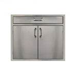 "PCM Stainless Steel 4"" Drawer above 30"" Double Access Doors (PCM-260-DDHDR30)"