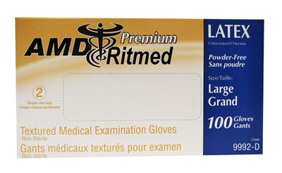 Latex Powder-Free Gloves; Large (100)