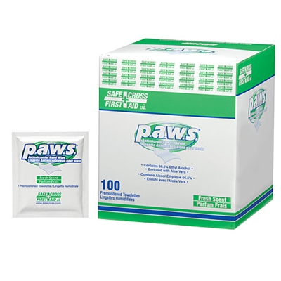 Paws, Antimicrobial Hand Towelettes, 100/Box