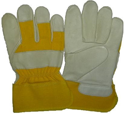 Beige Cowgrain Leather Glove - Yellow