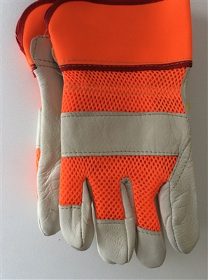 Beige Cowgrain Leather Glove - Orange