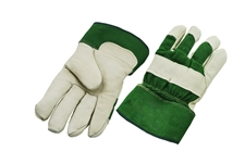Cowgrain Leather Glove Cotton Piled Mouton Lining - Green