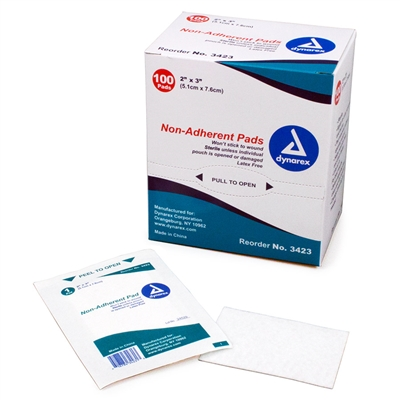 "Dynarex Non-Adherent Pads - 2"" x 3"" - Sterile"