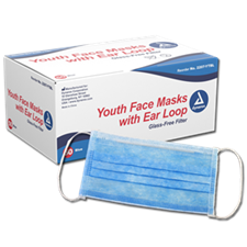 Youth Face Masks with Ear Loop, Box of 50