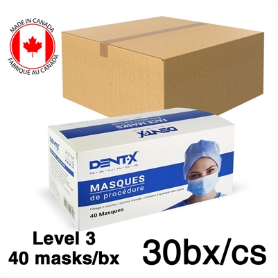 Level 3 Hospital / Medical 3-Ply Surgical Masks CASE of 20bx