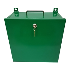 "Empty Green Metal Cabinet w/lock and keys - 15"" x 10.5"" x 4.75"""