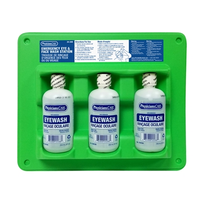 Triple Eyewash Station w/ 250 ml Eyewash bottles (Full)
