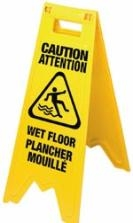 "Plastic Wet Floor Sign 12""W 24""H"