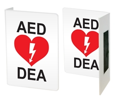 "AED Sign - Projecting Safety Sign ""L"" shape"