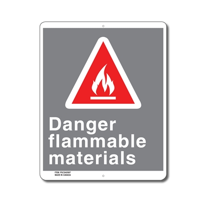 DANGER FLAMMABLE MATERIALS - CSA SIGN