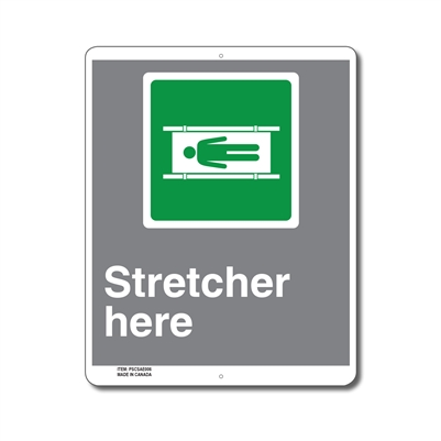 EMERGENCY STRETCHER HERE - CSA SIGN